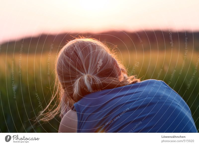 Lichtphotografin Mensch feminin Junge Frau Jugendliche Kopf Haare & Frisuren 1 18-30 Jahre Erwachsene Landschaft Feld Top blond langhaarig Zopf beobachten