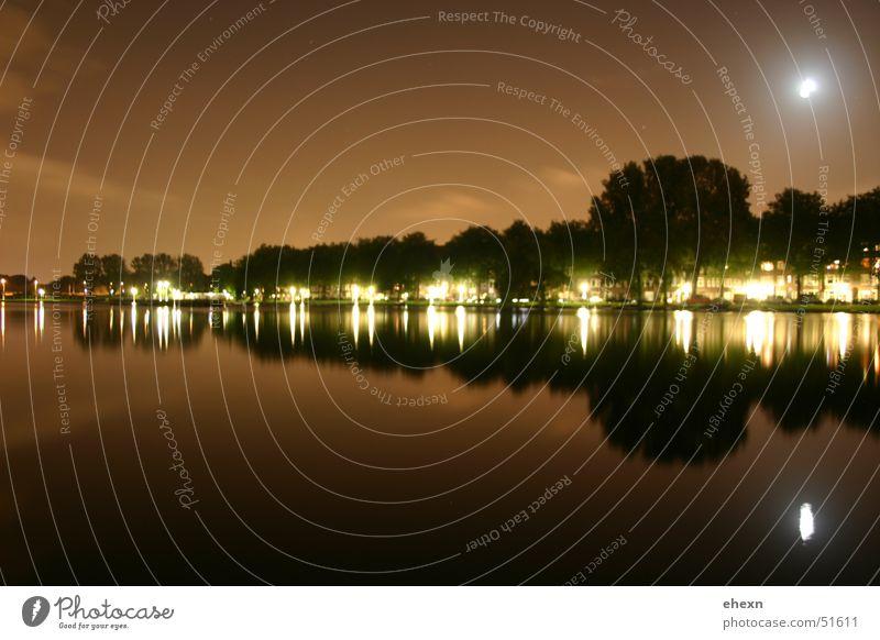 Spiegel Amsterdam Wasser Straße Lampe Mond Belichtung