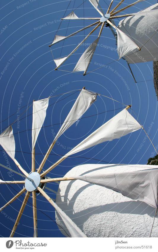 Windmills Himmel weiß blau Griechenland Tuch Windmühle Mühle Kreta Crete