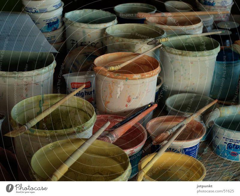 Farbtöpfe Farbe Pinsel Gefäße Eimer Keramik Farbeimer Farbtopf