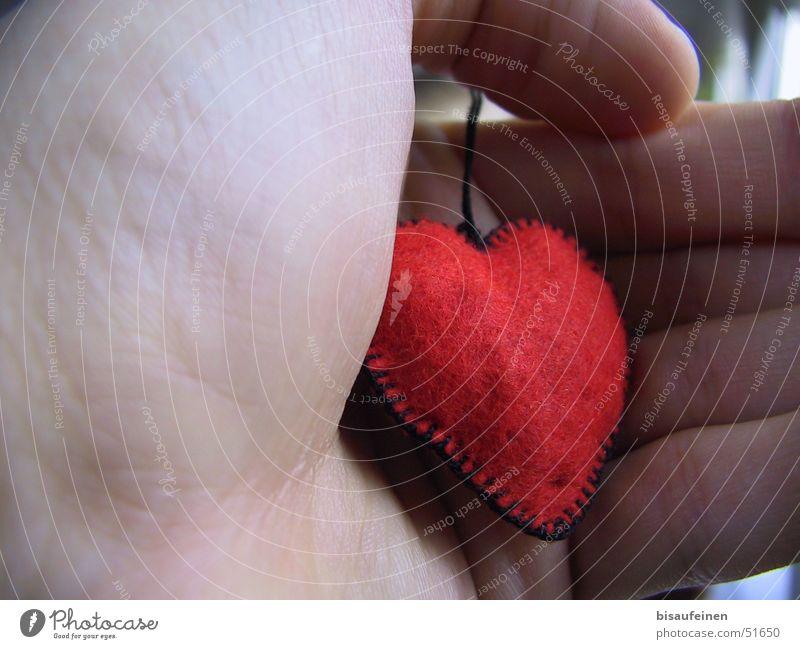 Ein fremdes Herz in meiner Hand... Hand rot Liebe Herz Finger Stoff festhalten greifen Filz Handballen