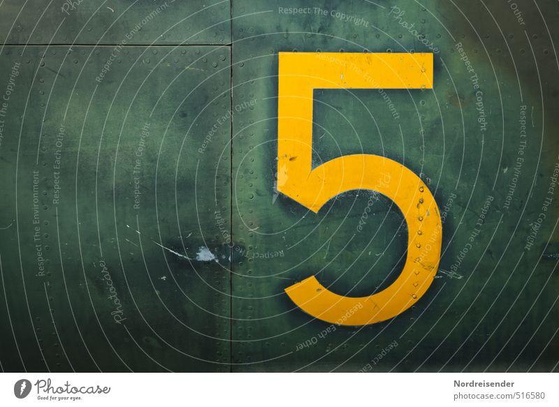 Fünf!....setzen! Maschine Technik & Technologie Luftverkehr Metall Zeichen Ziffern & Zahlen dunkel gelb grün Design Identität Ordnung stagnierend 5