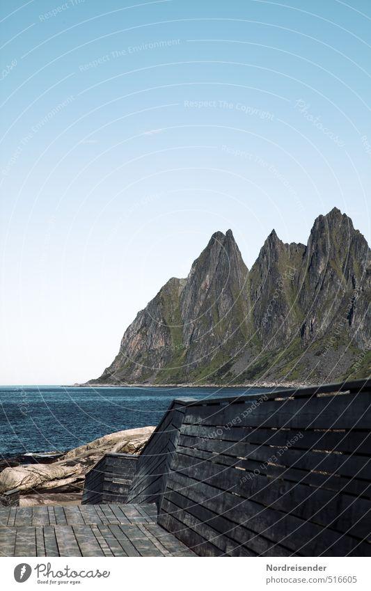 Senja Sinnesorgane Erholung ruhig Meditation Ferien & Urlaub & Reisen Tourismus Ferne Sommer Meer Natur Landschaft Wasser Wolkenloser Himmel Schönes Wetter