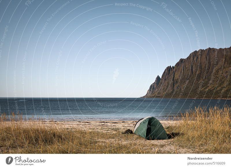 Senja ruhig Ferien & Urlaub & Reisen Tourismus Abenteuer Ferne Freiheit Camping Sommer Sommerurlaub Sonne Strand Meer Wolkenloser Himmel Schönes Wetter Gras