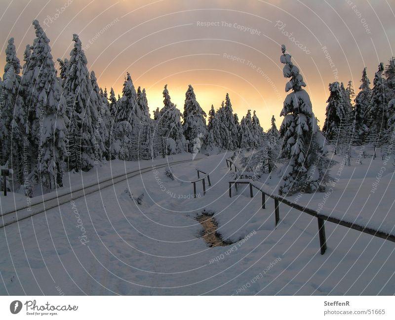 Sonnenuntergang am Götheweg Winter Schnee Bruchstück