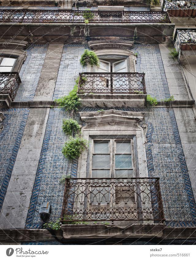 Balkon in Lissabon Fassade Fenster alt Armut authentisch historisch Stadt blau grau grün Fliesen u. Kacheln verfallen Farbfoto Außenaufnahme Menschenleer