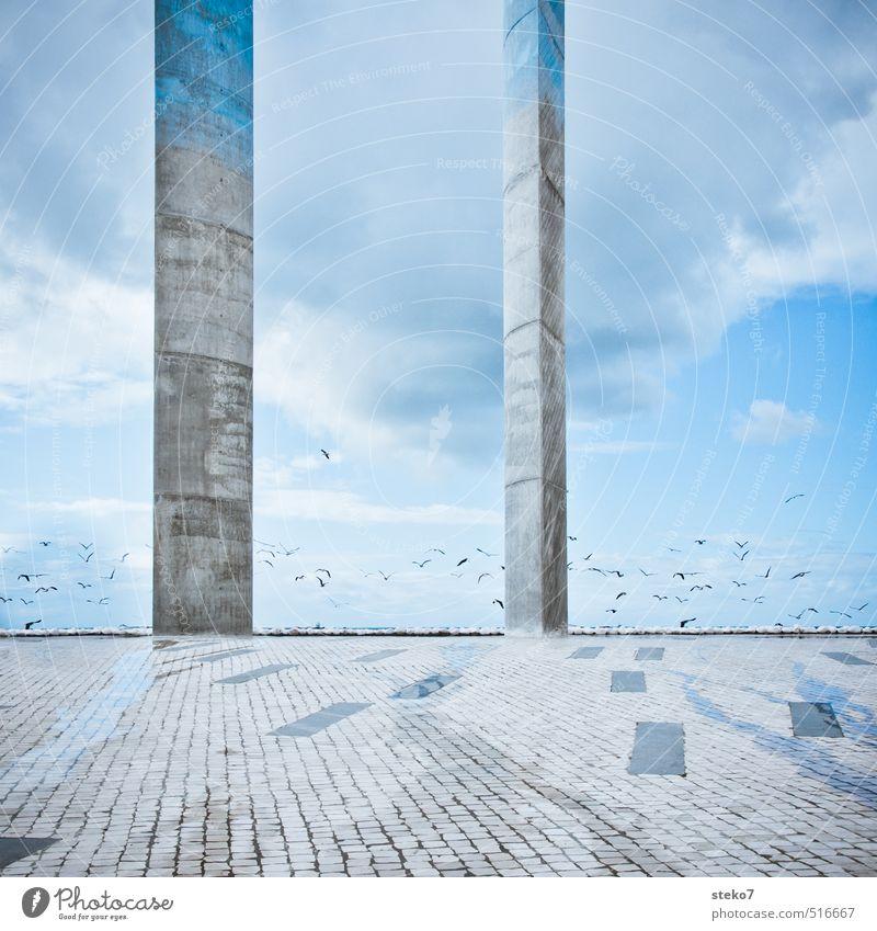 II blau Stadt Architektur grau Horizont Platz ästhetisch Ende Säule Skulptur Lissabon