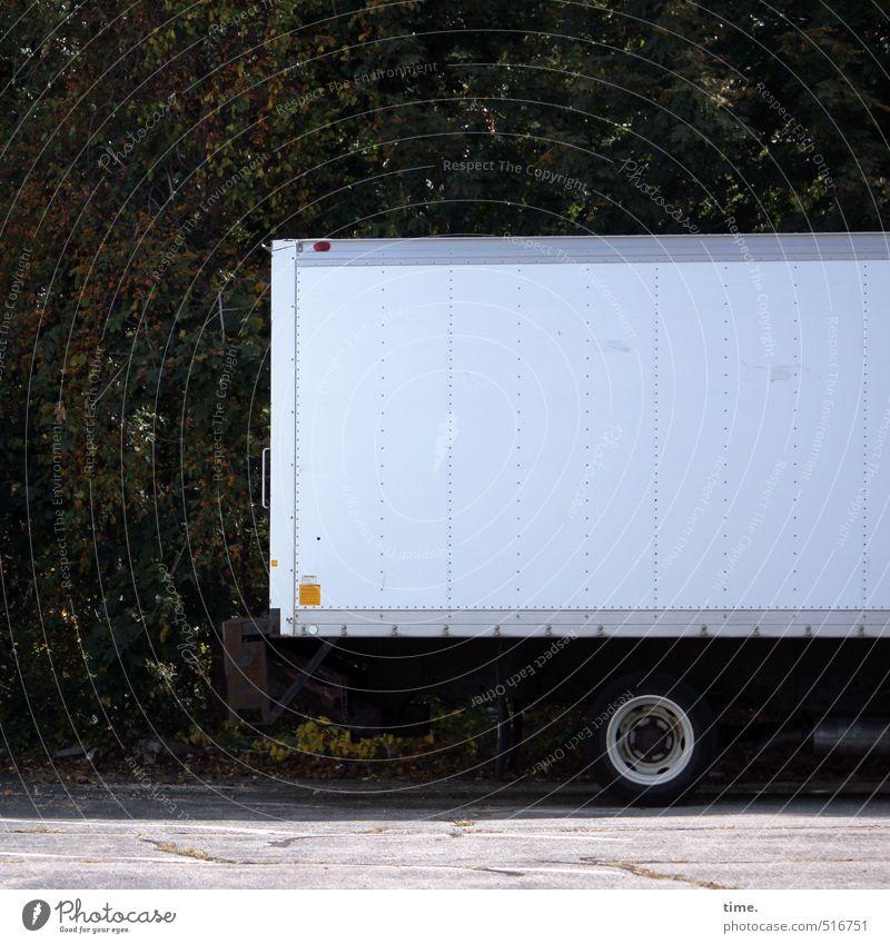 Rollkoffer Sträucher Hecke Verkehr Verkehrsmittel Berufsverkehr Güterverkehr & Logistik Fahrzeug Lastwagen Reifen stehen Mittelpunkt Pause ruhig stagnierend
