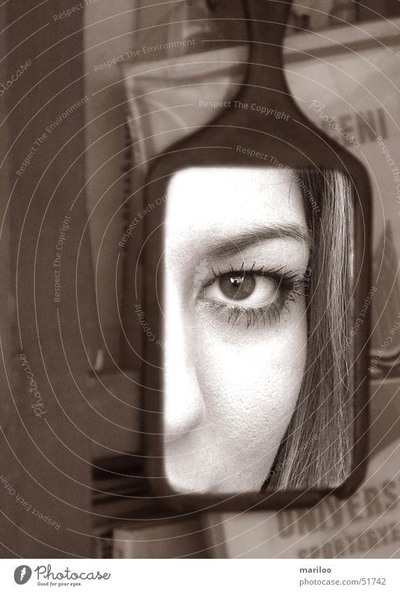 Spieglein, Spieglein an der Wand.. Spiegelbild Collage Wimpern Gesicht Auge Blick Schwarzweißfoto