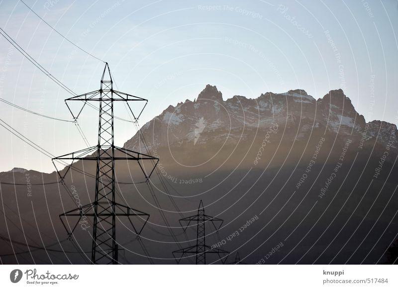 Sonne(n)energie Himmel Natur blau Sommer Sonne schwarz Umwelt Berge u. Gebirge Schnee grau Metall Felsen Energiewirtschaft Wetter Nebel Technik & Technologie
