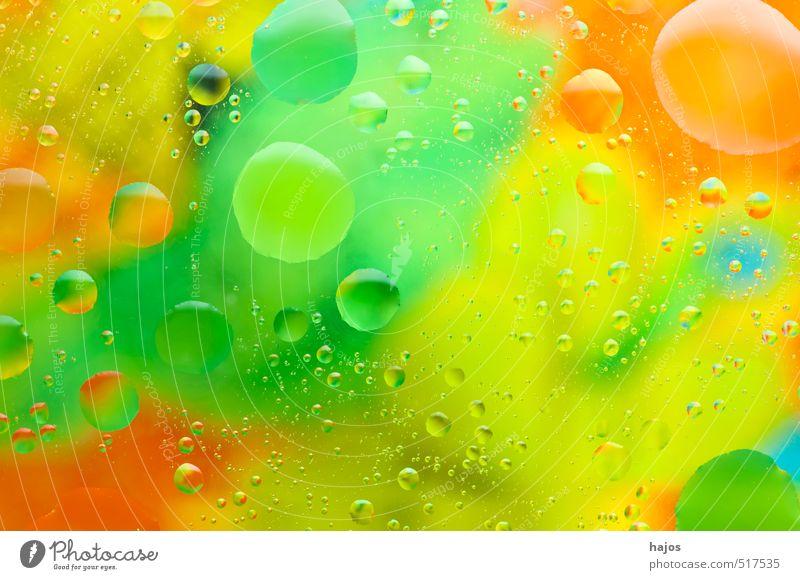 Blasen Design Kunst Kunstwerk Gemälde Wasser Wassertropfen Flüssigkeit Öl Tropfen Emusion Regenbogen Prisma Farbbrechung Fett farbig Farben Pop-Art