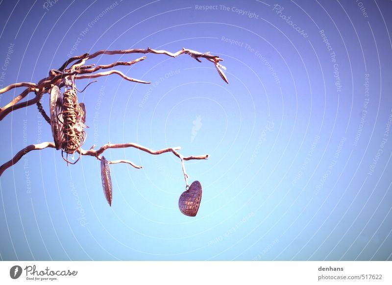 einsame Herzen blau alt Baum Einsamkeit Liebe Senior träumen Freundschaft Kunst Design Dekoration & Verzierung retro Zeichen Romantik violett
