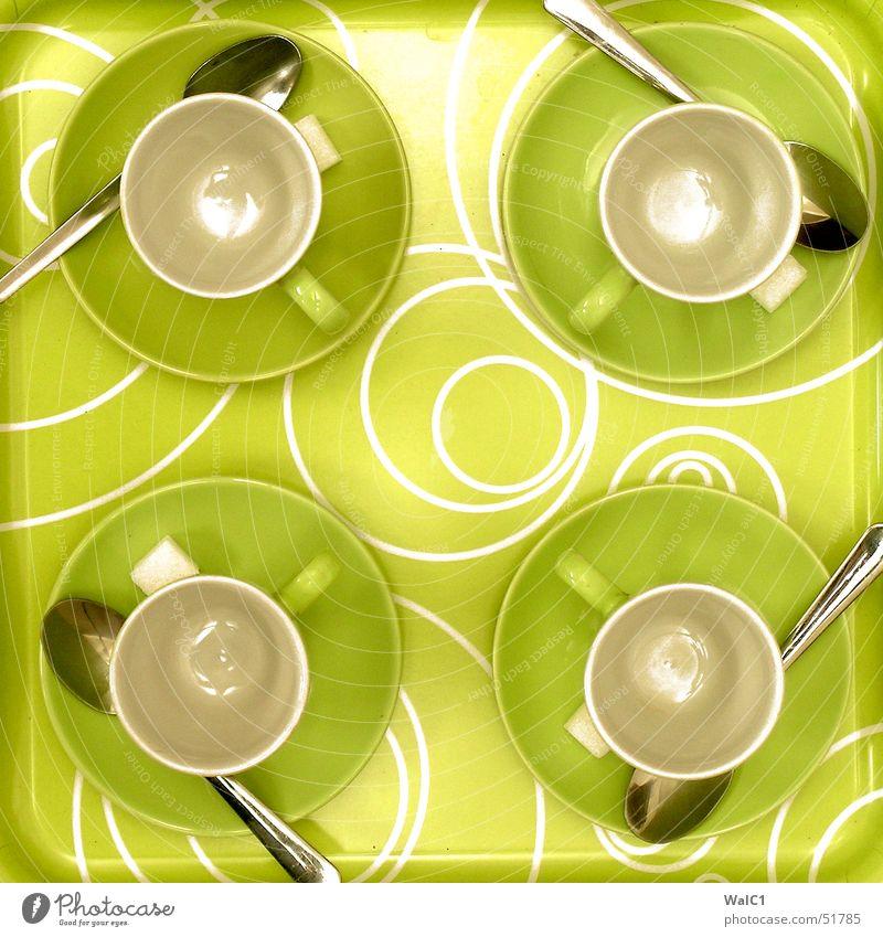 Service is our success grün Kreis Kaffee Pause 4 Café Tasse Griff Zucker Besteck Löffel Produktion Keramik kredenzen Tablett