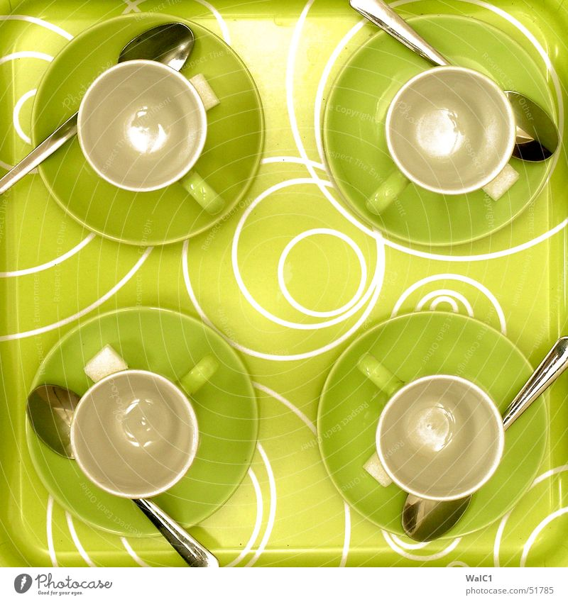 Service is our success grün Kreis Tasse Griff Café Tablett Pause 4 Keramik Löffel Besteck Zucker circle Kaffee kredenzen ikea