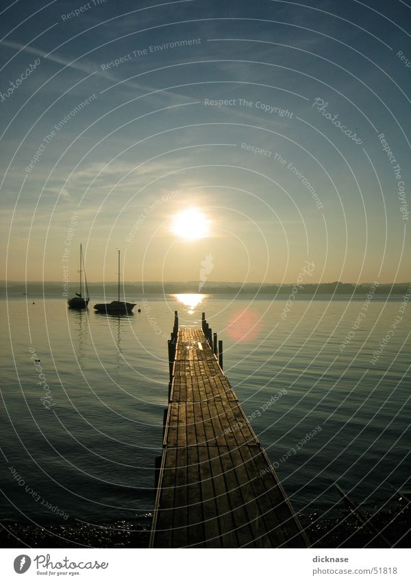 herbstsonne am ammersee Sonne Erholung See Steg Segelboot Ammersee