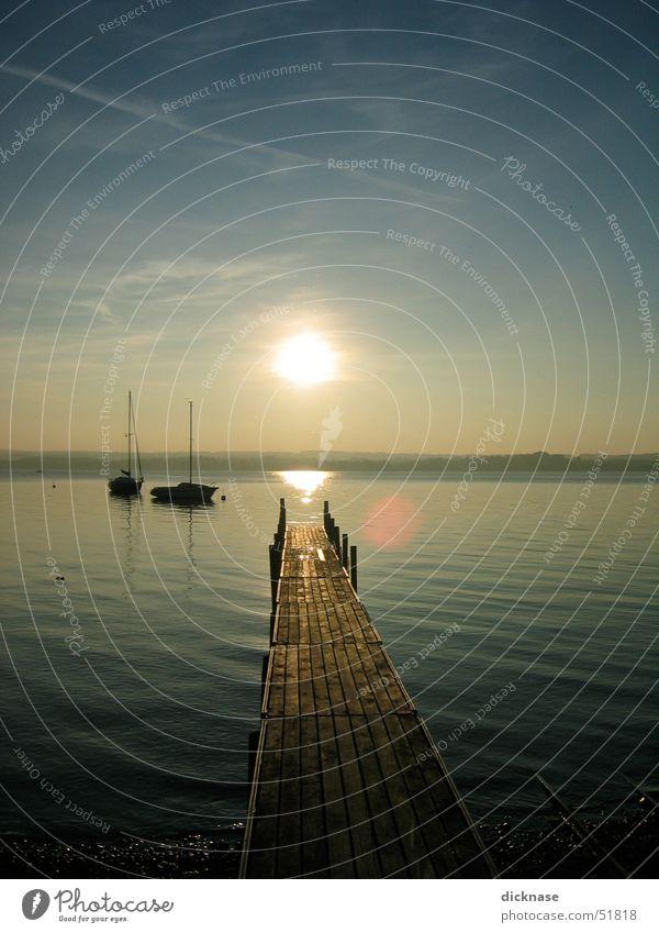 herbstsonne am ammersee Sonnenuntergang Steg See Ammersee Segelboot Erholung