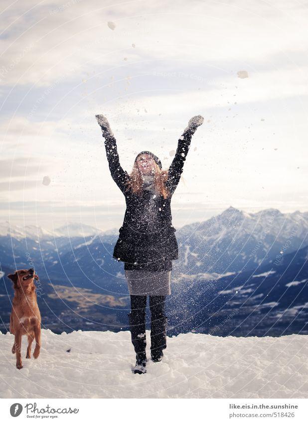 frau holle und ihr bester freund Hund Frau Ferien & Urlaub & Reisen Jugendliche schön Landschaft Junge Frau Freude Winter Ferne 18-30 Jahre Erwachsene Umwelt Berge u. Gebirge Leben feminin