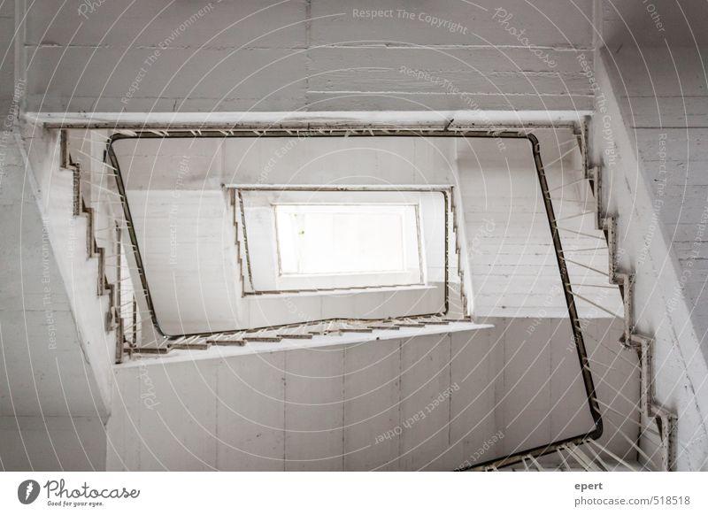 ut ruhrgebiet | Neun Industrieanlage Fabrik Mauer Wand Treppe Stein Beton Treppengeländer eckig trist Stadt weiß Perspektive Ferne Symmetrie Wege & Pfade
