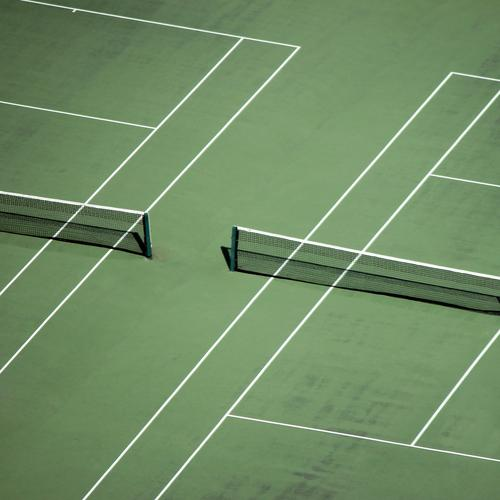 Rasen ist gefährlich   Tennisarm Sport Fitness Sport-Training Ballsport Sportstätten Tennisplatz Netz Wiese Linie Streifen grün weiß Partnerschaft Genauigkeit