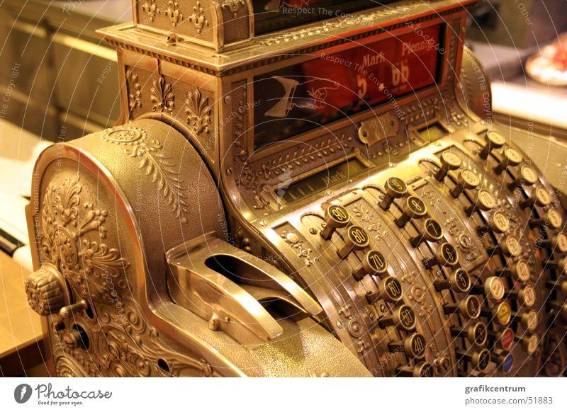 Alte Kasse alt gold Ziffern & Zahlen antik Kasse altmodisch