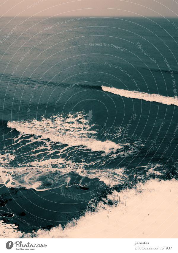 Brandung Wasser weiß Meer blau Winter Ferne dunkel Schnee Wellen Deutschland Horizont Ostsee Schaum