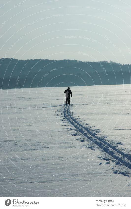 Langlauf Mensch Winter Einsamkeit Ferne Sport kalt Schnee Bewegung Eis Horizont Frost Fitness Skier Hügel Fernweh Winterurlaub