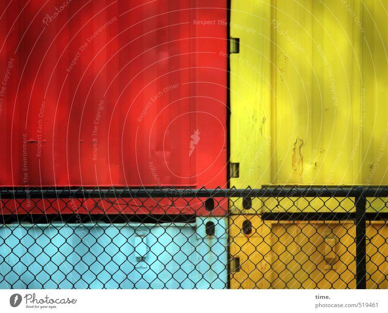 coloured up workplace blau rot gelb Metall Kunst Arbeit & Erwerbstätigkeit Zusammensein orange Ordnung geschlossen Sicherheit Schutz Baustelle Zaun Zusammenhalt