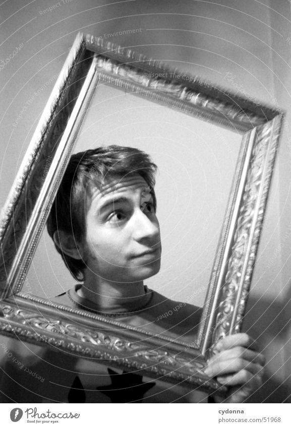 Das lebende Bild Bilderrahmen antik Mann Porträt Überraschung Stil Denken Dekoration & Verzierung Mensch Schwarzweißfoto alt gold Blick Gesichtsausdruck
