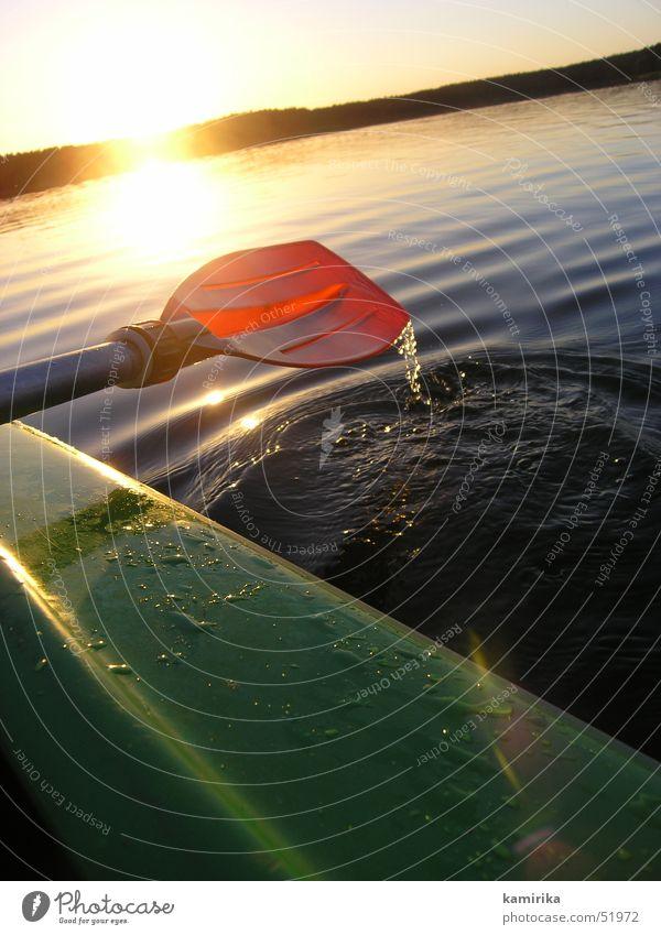 gegen den strom Paddel Sonnenuntergang Kajak Kanu Reflexion & Spiegelung Polen Wasser Wassertropfen Im Wasser treiben