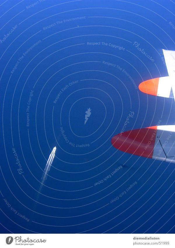 Blauer Höhenflug Wasser Sonne Meer blau Ferien & Urlaub & Reisen Ferne Freiheit Wasserfahrzeug Flugzeug fliegen Perspektive Niveau Flügel Streifen