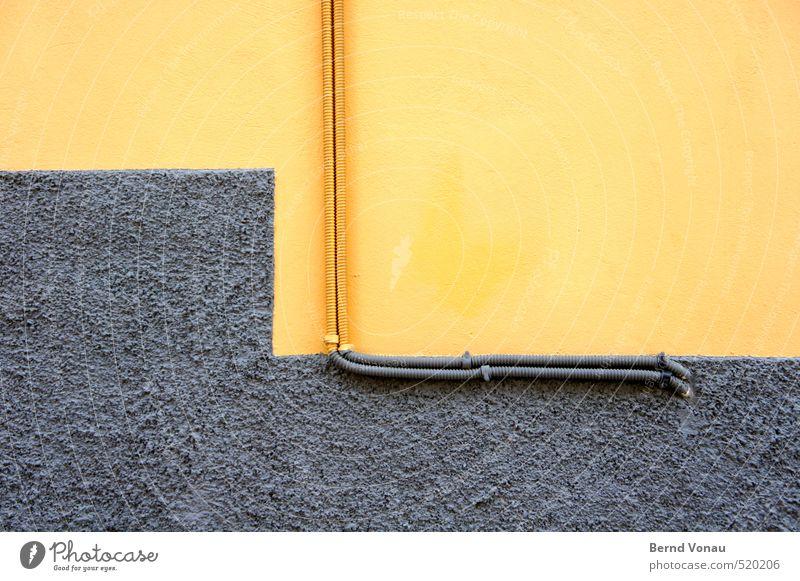 Farbabstufung Kabel Energiewirtschaft liapades Korfu Griechenland Dorf Mauer Wand blau gelb grau schwarz Farbe Putzfassade Glätte Installationen klemmen