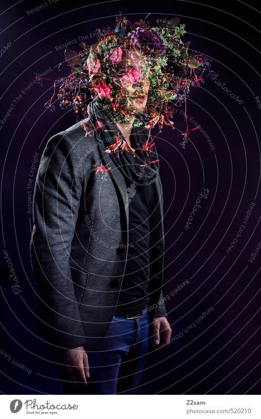 Flowerpower Stil Junger Mann Jugendliche 1 Mensch 18-30 Jahre Erwachsene Herbst Blume Blumenstrauß Mode T-Shirt Hose Jacke Schal blond kurzhaarig Bart stehen