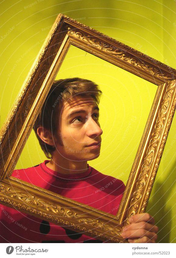 Das farbig-lebende Bild Porträt Mann Kerl grün Bilderrahmen antik Stil Dinge Mensch Dekoration & Verzierung gold Gesichtsausdruck Denken