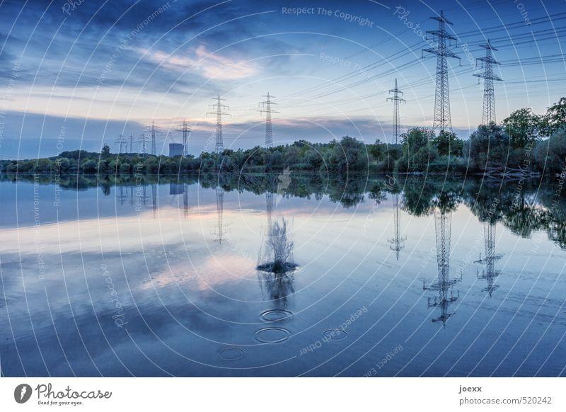 Steinwurf Fortschritt Zukunft High-Tech Energiewirtschaft Kernkraftwerk Himmel Wolken Sommer Klimawandel Schönes Wetter Seeufer schön blau rosa schwarz weiß