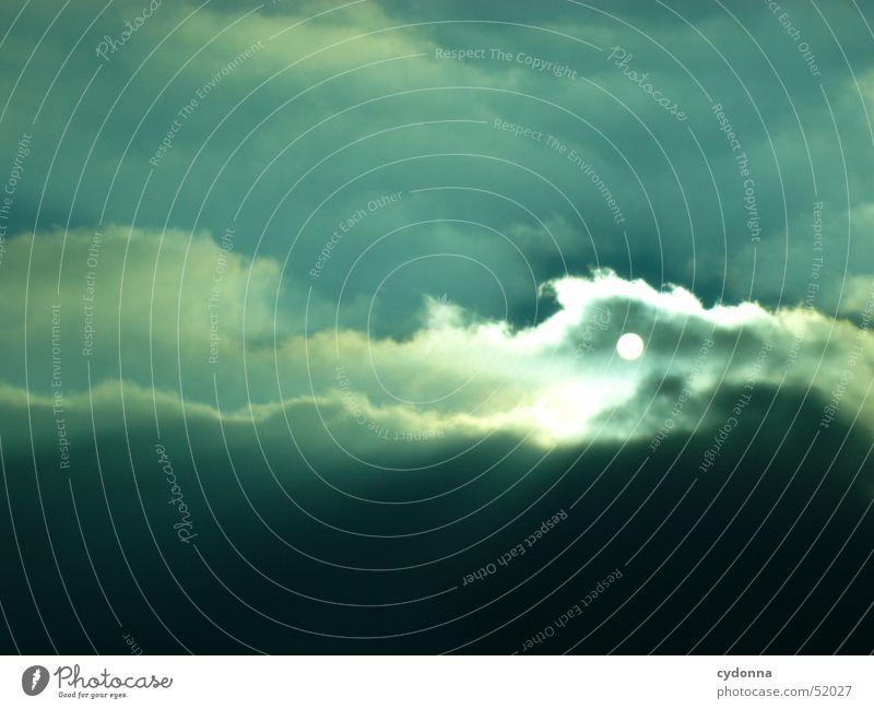 Sonnenuntergang Himmel blau Winter schwarz Wolken Gefühle Stimmung Beleuchtung Eindruck Himmelskörper & Weltall