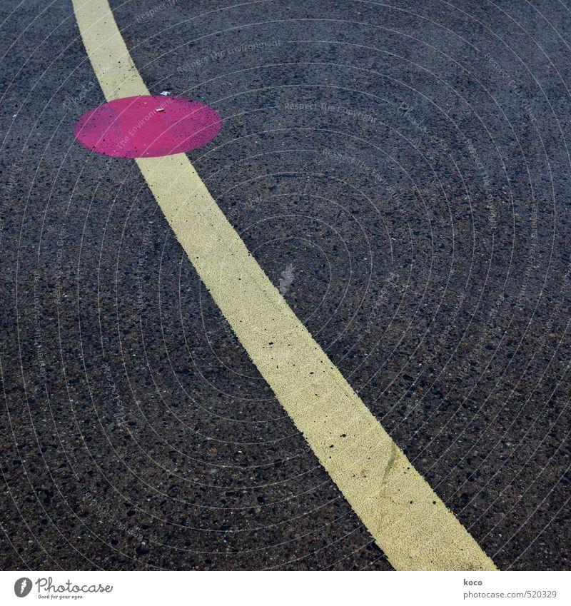 Punktlandung. Verkehrswege Straßenverkehr Straßenkreuzung Wege & Pfade Flughafen Flugplatz Landebahn Beton Linie einfach lang rund gelb rosa schwarz