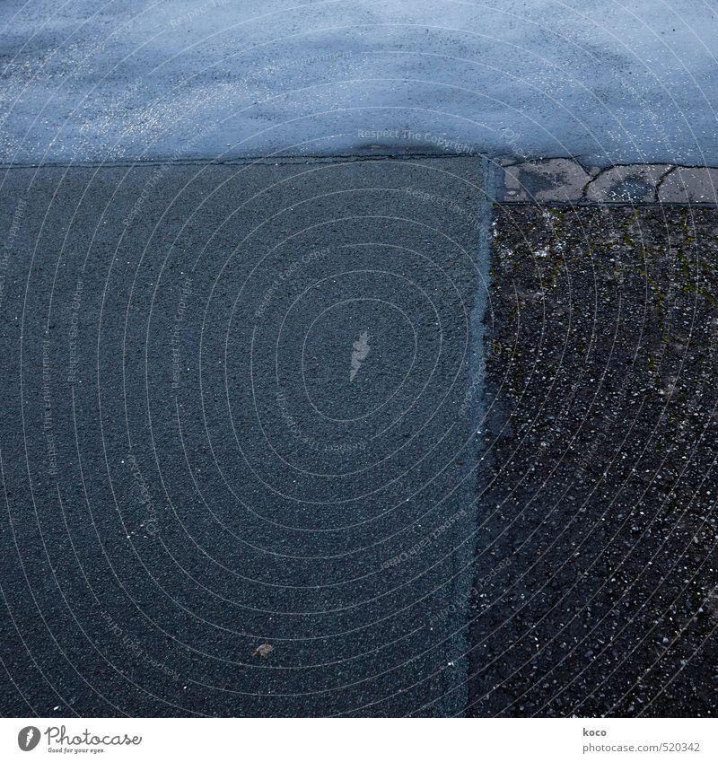 asphalt. Verkehr Verkehrswege Straßenverkehr Autofahren Wege & Pfade Autobahn Asphalt Beton Rechteck Stein Linie ästhetisch dunkel eckig einfach kalt blau grau
