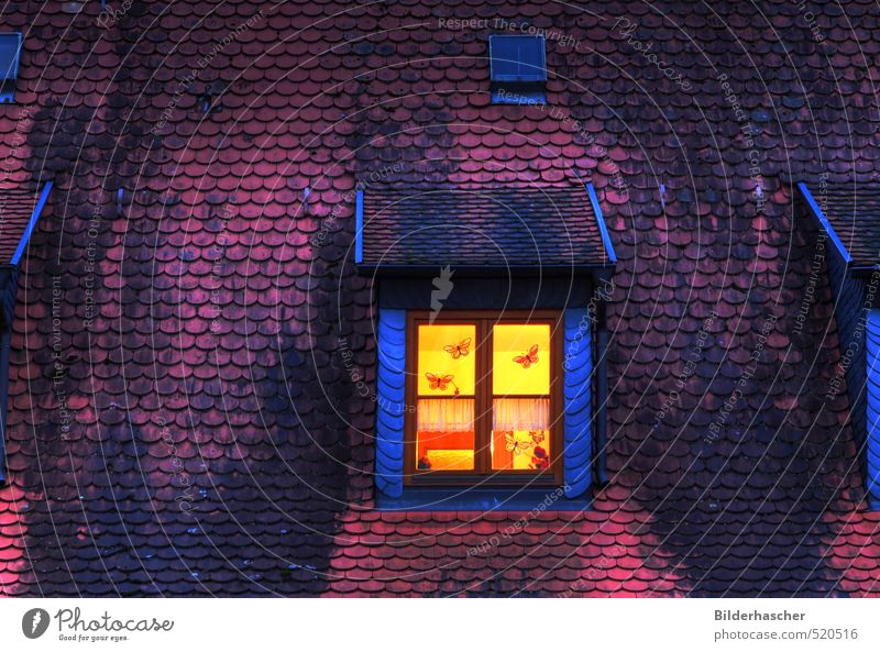 Nachtlicht Dachfenster Fenster Licht Haus Mansarde Dachziegel dunkel Raum Dämmerung Ziegeldach Schiefer Holzfenster Sprossenfenster Dekoration & Verzierung