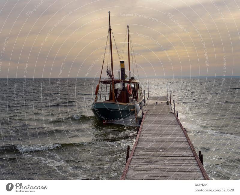 Schaluppe Landschaft Wasser Himmel Wolken Horizont Sonnenaufgang Sonnenuntergang Herbst schlechtes Wetter Wellen Küste Meer Schifffahrt Dampfschiff Jacht Seil