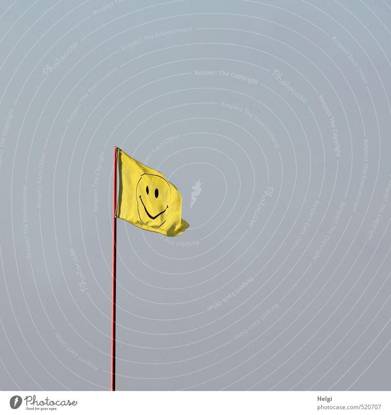 Happy birthday Photocase | fröhlich bleiben... Fahne Fahnenmast Smiley Stoff Metall Zeichen hängen Lächeln ästhetisch hoch lang blau gelb rot Freude