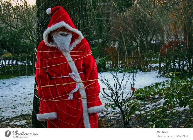 Entführt ! Weihnachten & Advent 1 Mensch Umwelt Natur Winter Schnee Baum Mantel Mütze Vollbart rot Rache gefesselt Weihnachtsmann Karnevalskostüm Garten