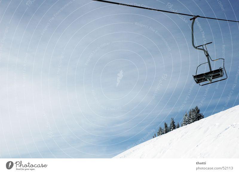 doppelsessel Schnee Seil Alpen Klettern Bergsteigen Wintersport Sesselbahn Drahtseil