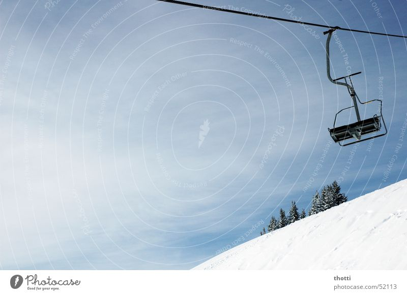 doppelsessel Wintersport Sesselbahn Seil Bergsteigen Schnee Alpen Drahtseil Klettern
