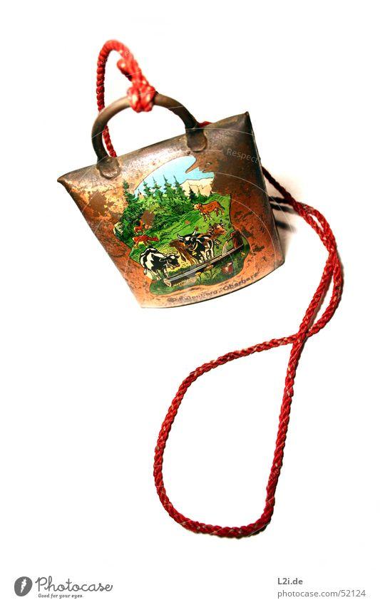 Cowbell Natur alt Himmel grün blau rot Ferien & Urlaub & Reisen Wald Wiese Berge u. Gebirge braun Spielzeug Schnur Kuh Glocke