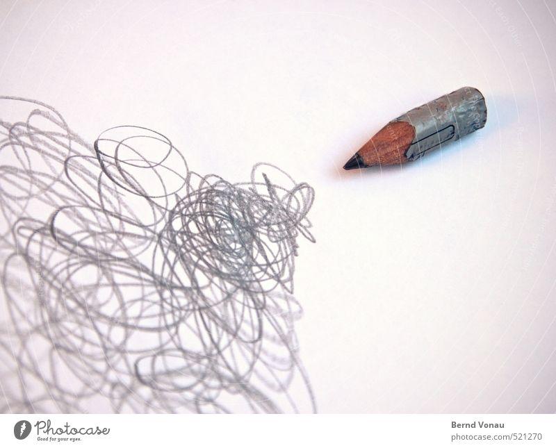 Kreatives Chaos weiß schwarz Freiheit grau Linie Spitze Papier Kreativität Zeichen chaotisch analog durcheinander silber Schreibstift Abnutzung Bleistift