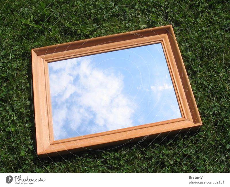 Spiegelwiese Himmel Wolken Wiese Gras Spiegel Rahmen