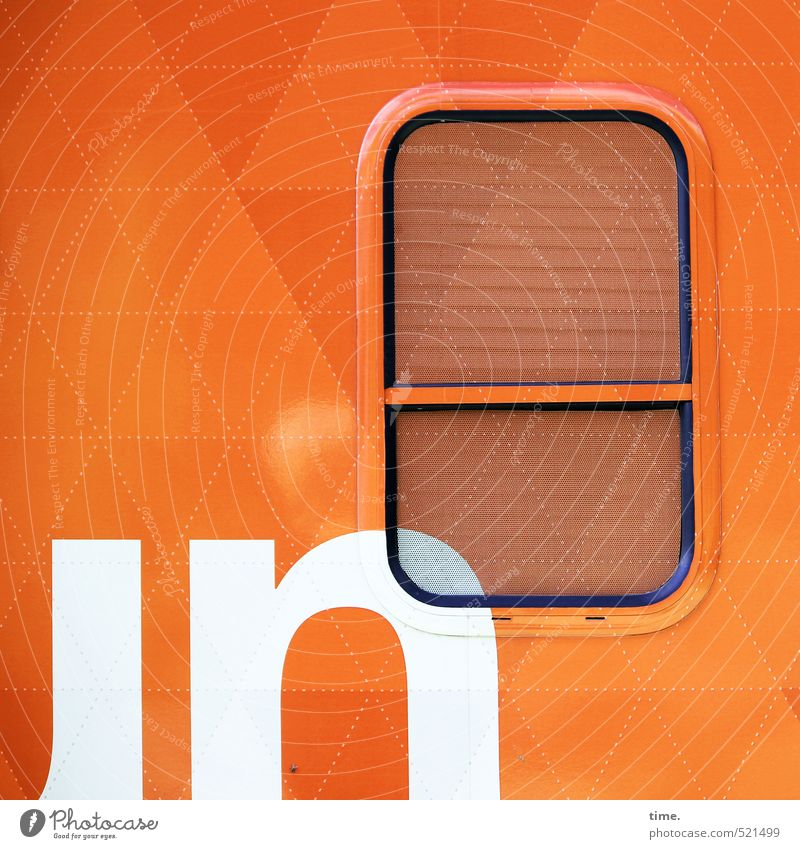 Rolling Home weiß Fenster Wand Mauer Linie Metall orange Design Tourismus Ordnung Verkehr Glas Schriftzeichen Güterverkehr & Logistik Personenverkehr skurril