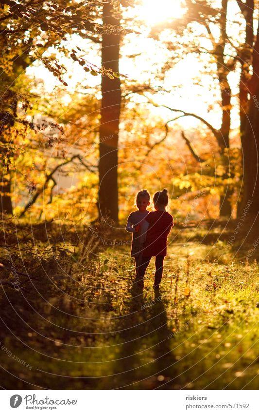 just stop the time Mensch Kind Mädchen Geschwister Schwester Kindheit 2 3-8 Jahre Natur Sonne Sonnenaufgang Sonnenuntergang Sonnenlicht Sommer Herbst