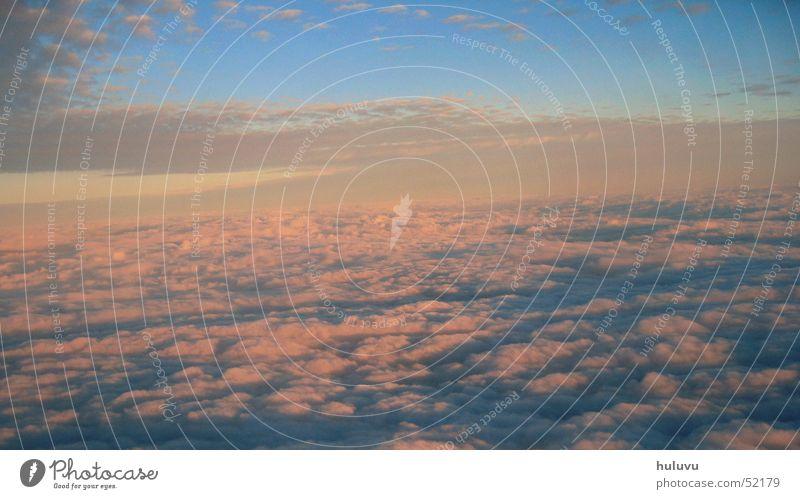 away_1 Wolken Himmel Flugzeug Ferien & Urlaub & Reisen Abendsonne Abenddämmerung fliegen sky