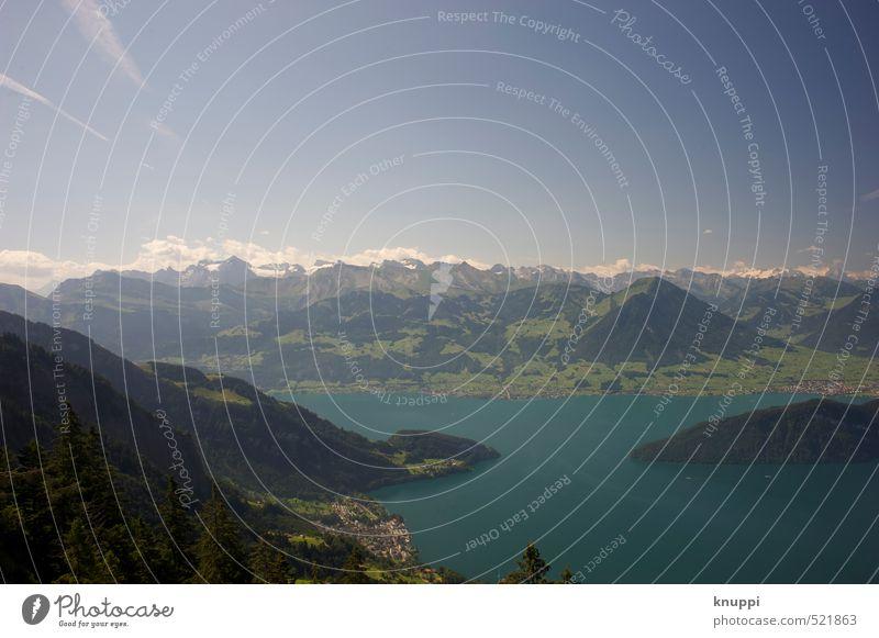 Vierwaldstätter See Umwelt Natur Landschaft Luft Wasser Himmel Wolken Horizont Sonne Sonnenlicht Sommer Klima Klimawandel Schönes Wetter Schnee Baum Wald Felsen